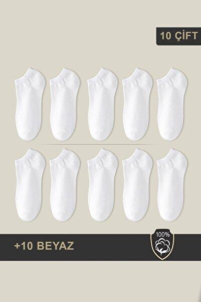 BGK Unisex Patik Çorap 10 Çift Beyaz (10 Çift)