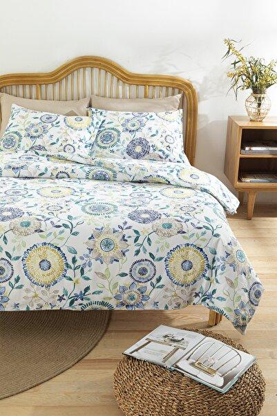English Home Chrysant Pamuklu Tek Kişilik Nevresım Setı 160x220 Cm Mavi