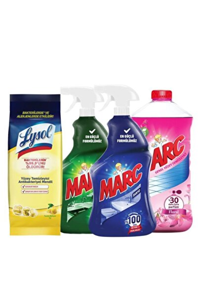 Lysol Antibakteriyel Mendil 72li + Marc Banyo Mutfak Sprey Set 2x750ml + Marc Yüzey Temizleyici