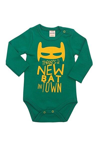 Fuar Baby Yarasa Baskılı %100 Pamuk Erkek Bebek Bebek Uzun Kol Yeşil Body