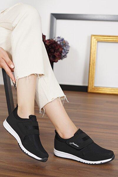 LETAO Bayan Siyah-beyaz Rahat Hafif Cırtlı Günlük Yürüyüş Spor Ayakkabı