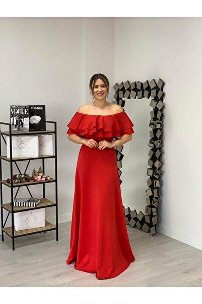 giyimmasalı Volanlı Elbise - Kırmızı