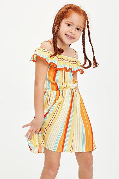 DeFacto Kız Çocuk Çizgi Desenli Askılı Elbise