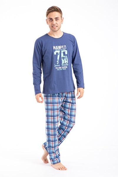TAMPAP Erkek Baskılı Pijama Takımı Uzun Kollu 2170