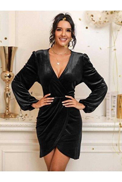 Banabu Kadın Kruvaze Yaka Pileli Elbise