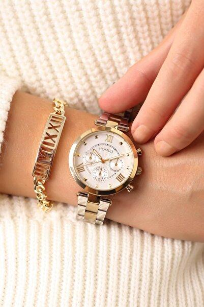 Homies Kadın Gold Gümüş Renk Kol Saati