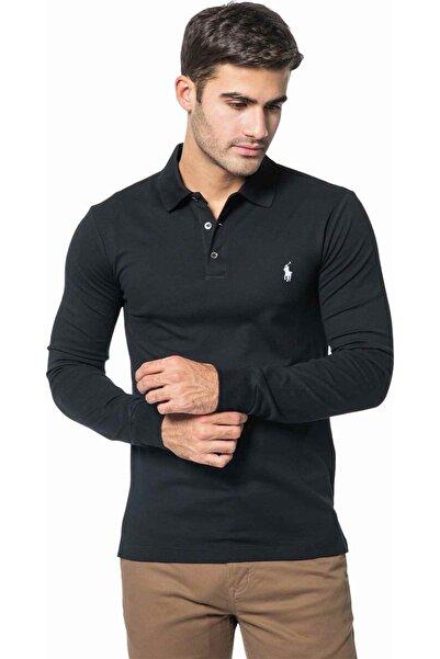 Polo Ralph Lauren Slim Fit Stretch Mesh Polo Yaka Uzun Kollu T-shirt