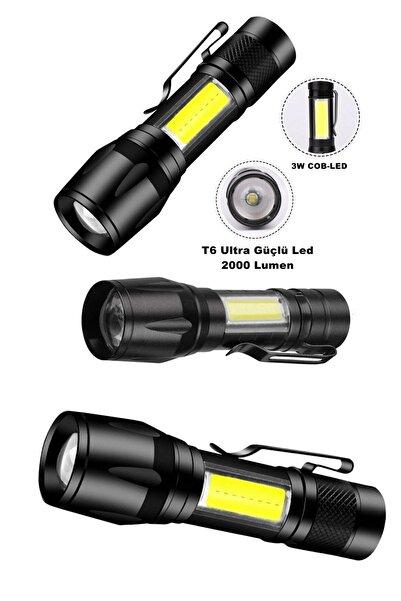 yopigo Or-515 Ultra Çift Yönlü Güçlü Pilli Led El Feneri 2000 Lumen + 6w Cob Led Su Geçirmez Zoomlu 3 Modlu