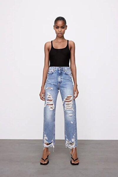 KUPAKIZI Kadın Yüksek Bel Yırtık Jeans