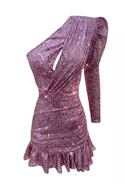 GIRA-GIRA Payetli Tek Kol Fırfırlı Elbise Pembe
