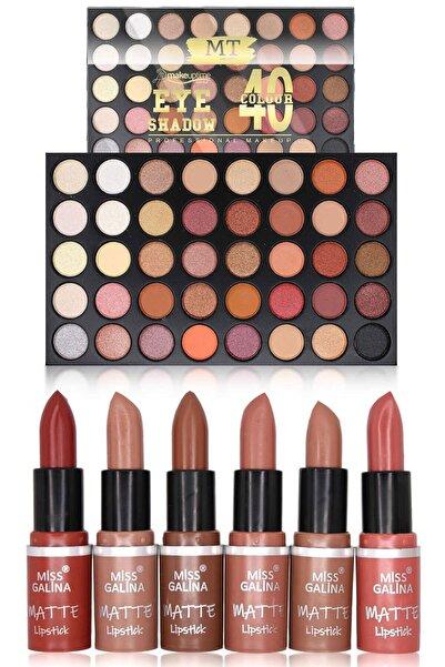 Makeuptime 40'lı Far Paleti Ve 6'lı Mat Ruj Makyaj Seti