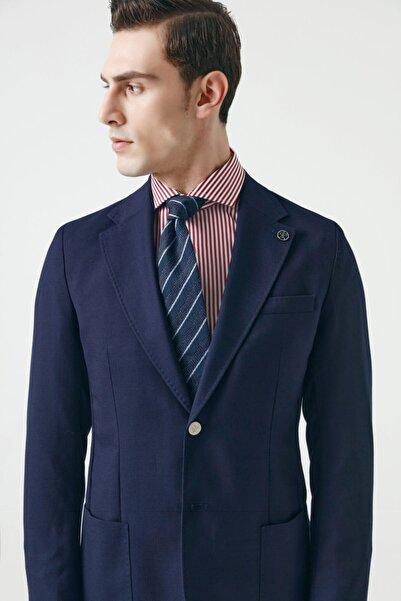 Damat Regular Fit Lacivert Armürlü Kumaş Ceket