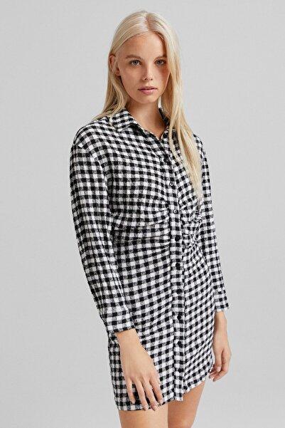 Bershka Beli Büzgülü Kareli Gömlek Elbise
