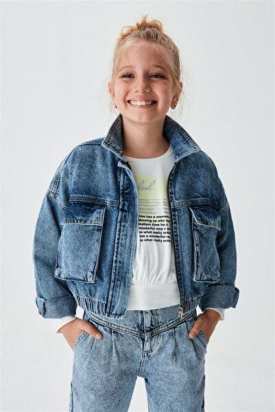 nk kids Kız Çocuk Mavi Kot Ceket 21knk31700