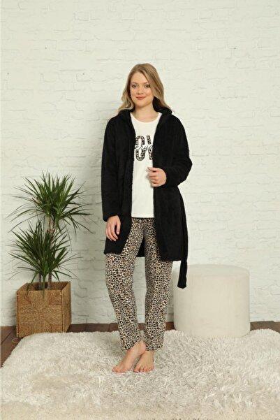 snc Kadın 3 Parça Sabahlıklı Polar Pijama Takımı Siyah