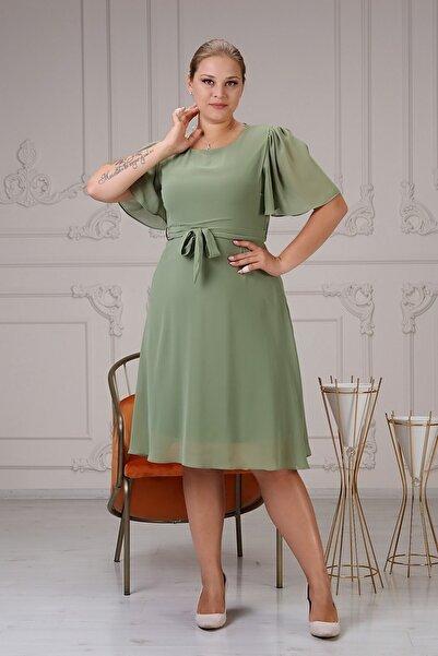apsen Kadın Büyük Beden Bağlama Detaylı Şifon Elbise 4257/110