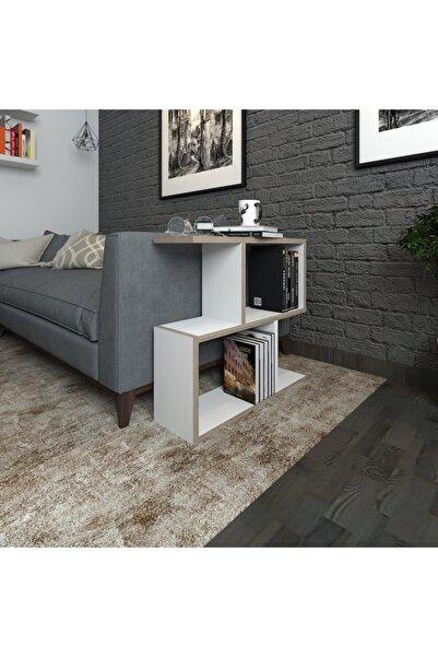 H&A CONCEPT Koltuk Yanı Z, 2 Raflı,ahşap,meşe,doğal,çok Amaçlı,mini,salon,çocuk Odası Kitaplık