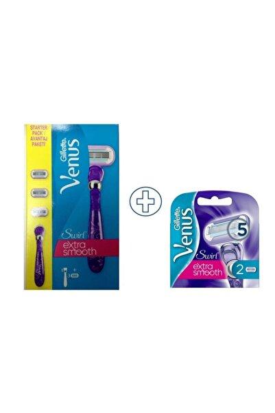 Gillette Venus Swirl Extra Smooth 3 Yedekli Tıraş Makinesi ve  Swirl Extra Smooth 2'li Yedek Başlık