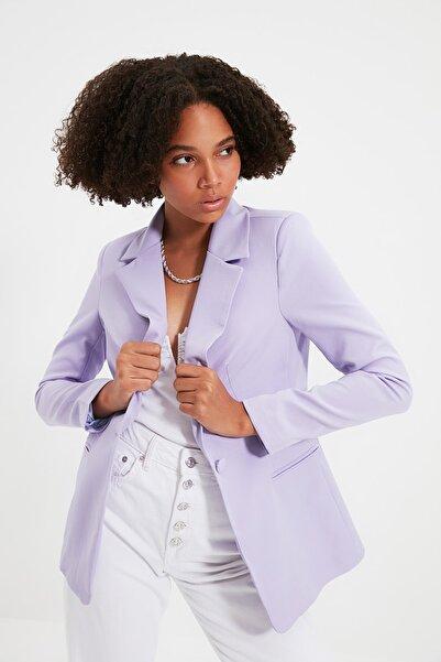 TRENDYOLMİLLA Lila Düğme Detaylı Blazer Ceket TWOSS21CE0011