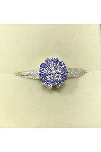 CHARM'S Pandora Bileklik Uyumlu 925 Ayar Saf Gümüş Parıldayan Çuha Çiçeği Charm'ı