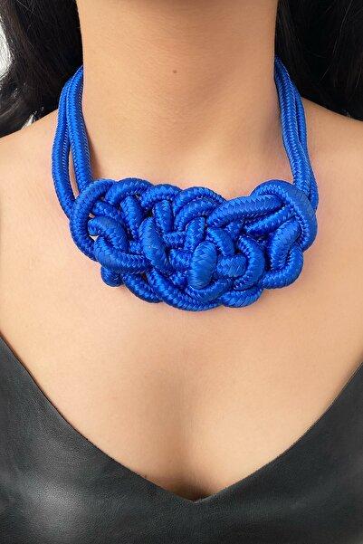 TAKIŞTIR Özel Tasarım Mavi Renk Kalın Ip Detaylı Kolye