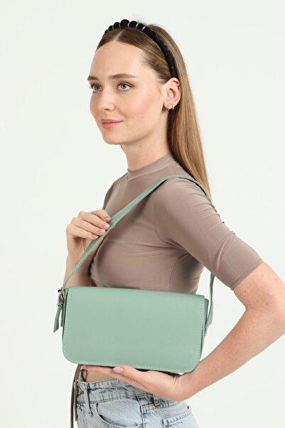 GÜLÇEM butik Kadın Yeşil Geniş Baget Çanta