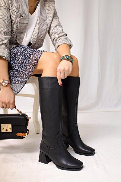 Limoya Kadın Siyah Deri Kalın Topuklu Çekme Çizme