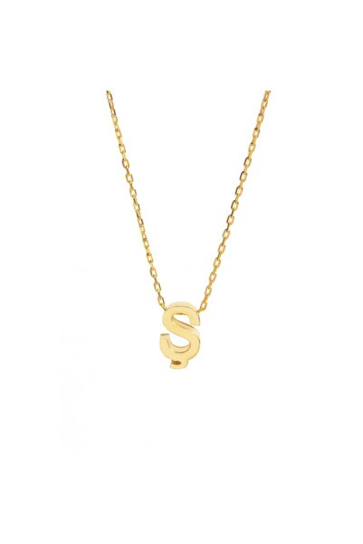 Şimal Silver 925 Ayar Gümüş Sarı Zincir Ş Harf Kolye