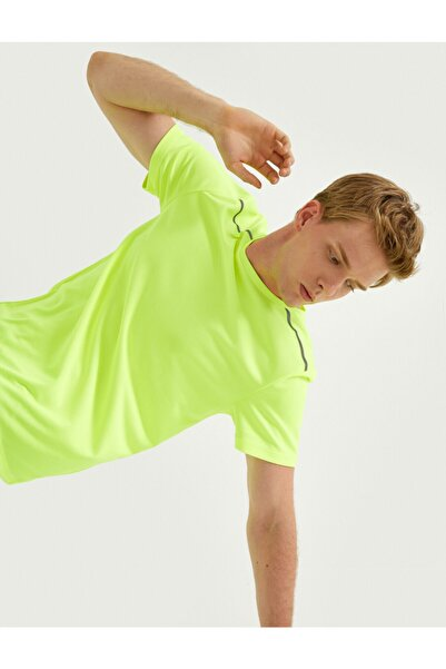 Koton Erkek Neon Sarı Spor T-Shirt