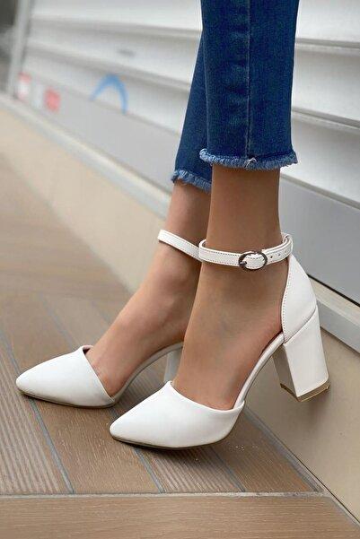 MODAADAM Kadın Celar Mat Deri Beyaz Topuklu Ayakkabı