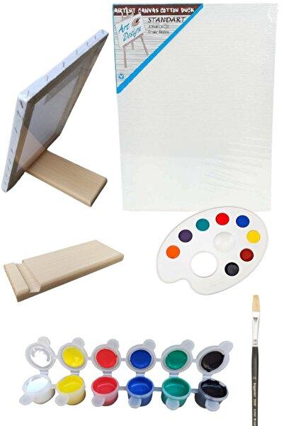 Oyun ve Sanat Mini Taşınabilir Şövale Resim Başlangıç Seti 2 - Tuval, 6'lı Boya, Fırça, Palet, Şövalye