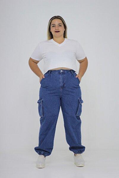 Truva XXL Büyük Beden Kadın Giyim Kargo Pantolon Bacak Kısmı Lastikli