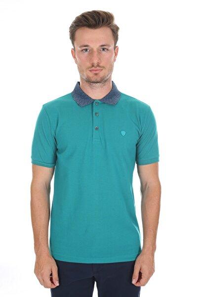 Diandor Polo Yaka Erkek T-shirt Su Yeşili - Melanj 2117200