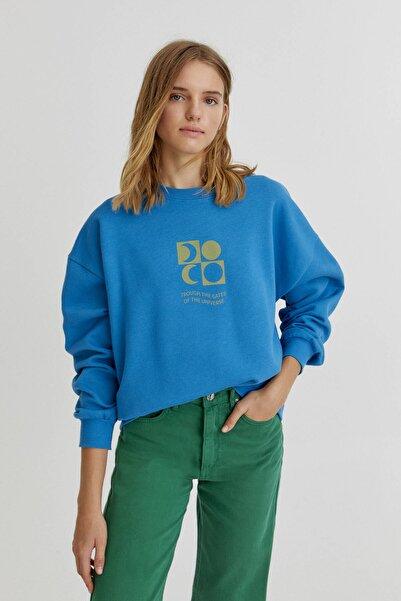 Pull & Bear Mavi Yarım Ay Grafik Baskılı Sweatshirt