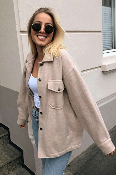 Madmext Mad Girls Bej Over Size Yün Gömlek Ceket Mg1199