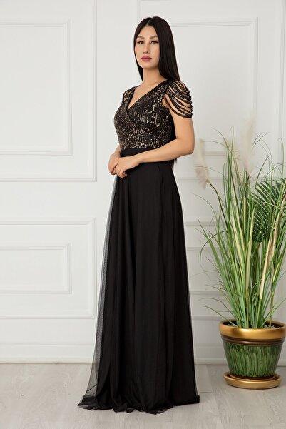 PULLIMM 13118 Pul Payet Tül Uzun Elbise