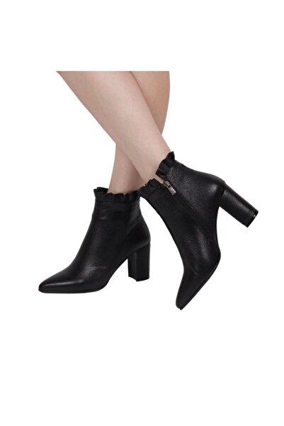 Hobby 21309 Deri Kadın Topuku Bot Siyah