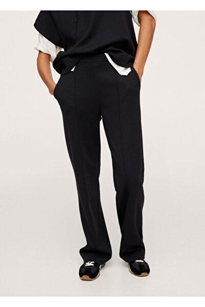 MANGO Woman Kadın Siyah Beli Bağcıklı Düz Kesim Pantolon