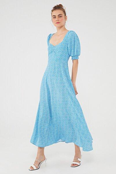 Mavi Kadın Puantiye Desenli Mavi Uzun Elbise 131158-35581 131158-35581