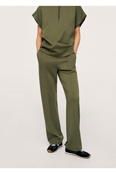 MANGO Woman Kadın Haki Renk Beli Bağcıklı Düz Kesim Pantolon