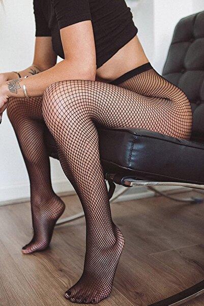 TİESSİ Kadın Siyah File Külotlu Çorap