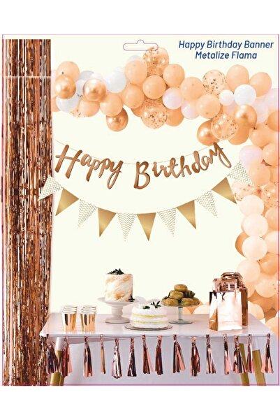 Doğumgünü Marketim Happy Birthday Kaligrafi Yazı Ve Metalize Flama Set Rose Gold
