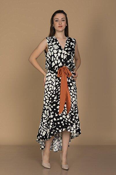 AYHAN 61632-1 Zebra Desen Kolsuz Kuşaklı Midiboy Eteği Valonlu Elbise