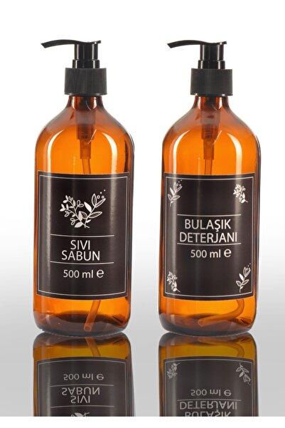 bigpapel Sıvı Ve Bulaşık Sabunluk Seti Cam Amber 500ml