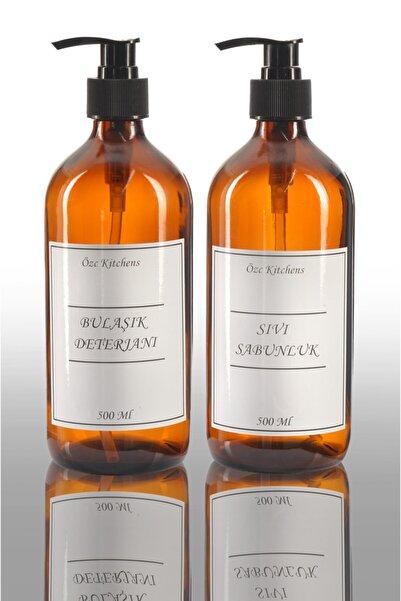Özc Kitchens Lüx Amber Cam Bulaşık & Sıvı Sabunluk Ikili (500ML*2)