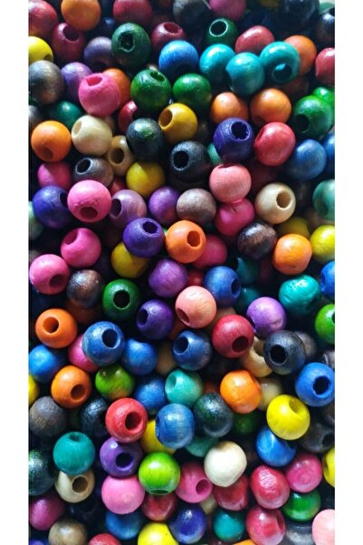 Selin 10 Mm Karışık Renkli Ahşap Boncuk - 100 Gram (300 Adet )