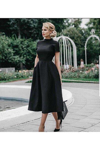tknfashion Siyah Atlas Kumaş Yarım Kollu Gizli Fermuar Detaylı Kiloş Abiye Elbise Gece Elbisesi Emr-58554 624