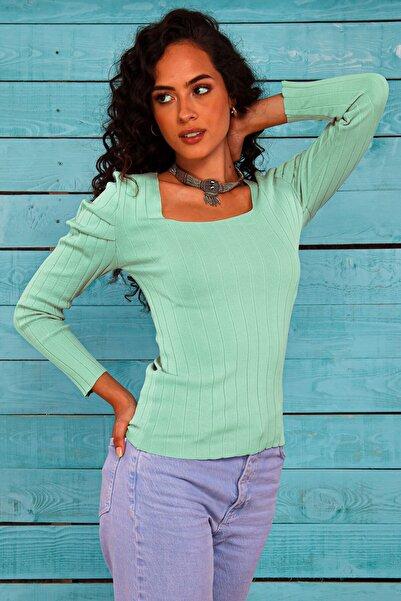 Hyde Park Kadın Çağla Karpuz Kol Uzun Kol Elit İp Triko Bluz HP-300721000003
