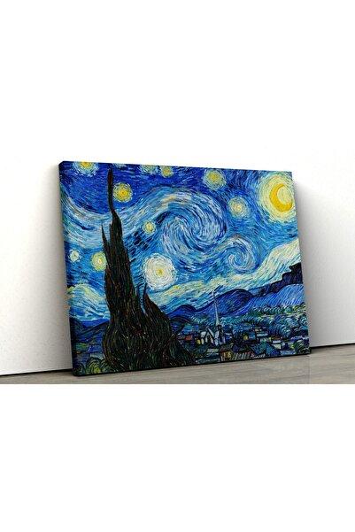 Blok Design Kanvas Tablo Resim Van Gogh Yıldızlı Gece Ünlü Yağlıboya Duvar Tablosu
