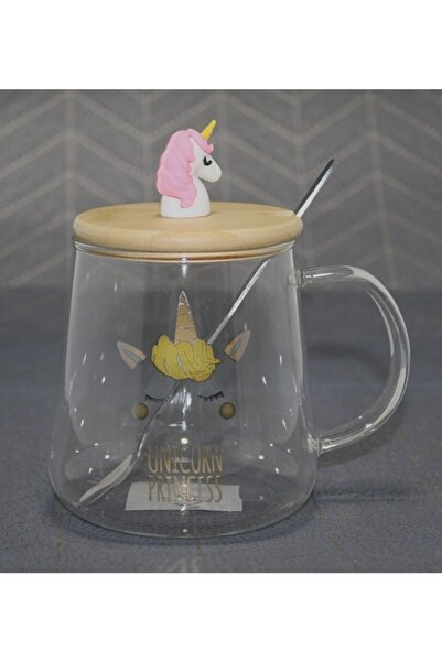 EvimShopping Unicorn Prenses Modelli Bambu Kapaklı Cam Kupa Bardak